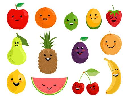 Happy cute smiling fruit face set. Vector flat kawaii cartoon character illustration icon collection. Kawaii emoji fruit. Apple, lemon, banana, orange, pear, pineapple, cherries, strawberry.