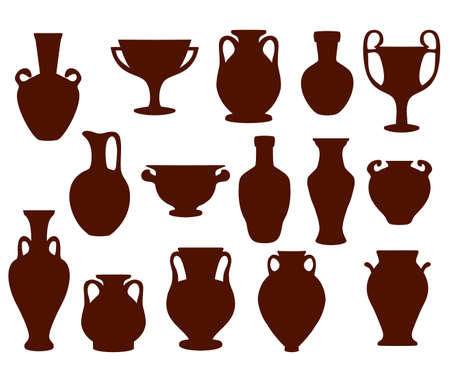 Vector set silhouettes of ancient amphorae and vases. Greece icon collection. Isolated illustration on white background Vecteurs