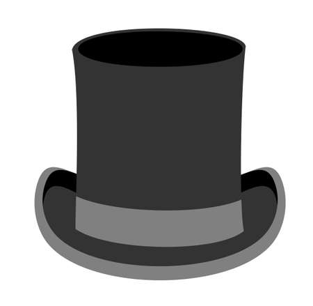 Black gentleman hat. Black top Hat vector illustration isolated on white background. Male head cap. Old fashioned clothes. Elegant. Gentleman style.Top Hat. Gentleman hat. Man retro Costume.