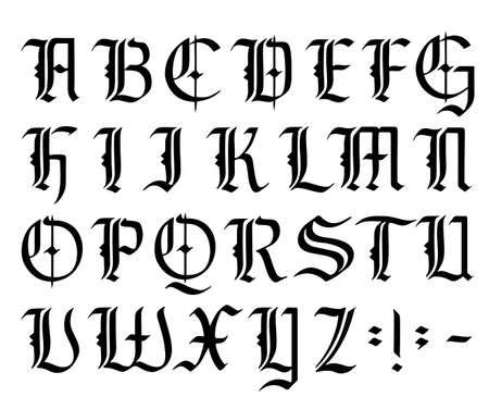 Vector modern gothic alphabet. Vintage font. Gothic Font Hand drawn vector. Typography for labels, headlines, posters etc. Calligraphy and lettering. Medieval Latin letters. Elegant font for tattoo. 矢量图像