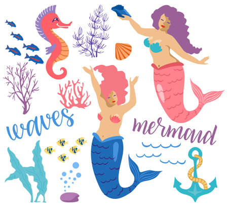 Set of vector colorful Mermaids and sea elements. Mermaids, fish, starfish, seaweed, various shells and seahorse. Marine theme. Isolated objects on a white background. Mermaids cartoon illustration 矢量图像