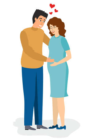 Pregnant woman. Couple in love. Happy expecting couple baby. Man hold wife, isolated flat young family vector characters. 矢量图像