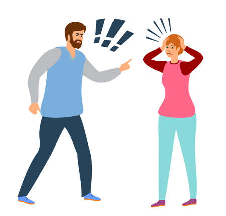 People shouting, quarrel illustration. Aggressive screaming characters. Screaming boy and girl, angry people. Angry girl and boy, man quarrel with woman. Husband and wife conflict illustration