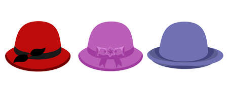 Set of colorful women s hats on white background. Elegant hat vector illustration.