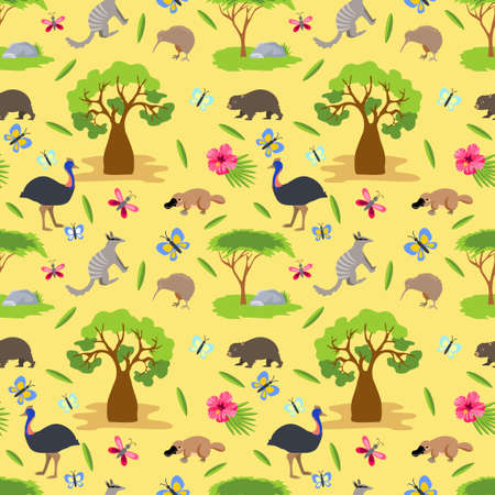 Australia background. Australian animals seamless pattern. Colored seamless pattern, australian animals, birds and plants.  Tropical nature, vector background 矢量图像