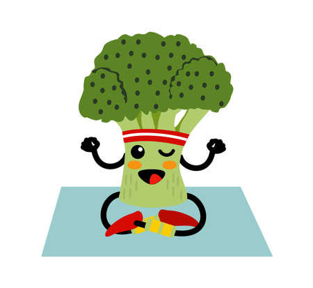 Cute smiling happy broccoli meditate in yoga pose. Funny vegetable sitting, meditate. Concept of healthy food and fitness. Broccoli yoga meditate, gym, sport, health, fitness nutrition