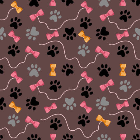 Cat paw seamless vector pattern. Cat footprint and bones texture. Pattern wallpaper background. Seamless pattern with cat paw footprint, toys and bows. Vector illustration. 矢量图像