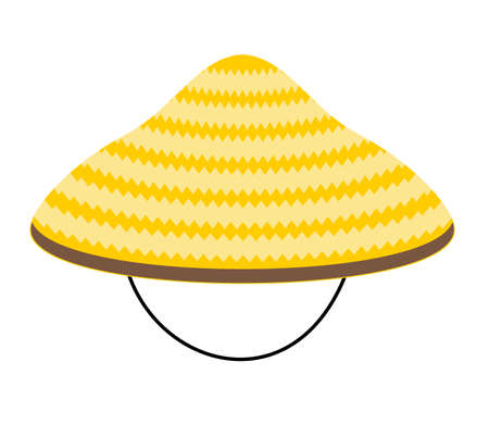 Chinese conical straw hat vector illustration isolated on a white background. Asian conical straw hat, traditional chinese or vietnamese headdress. 矢量图像
