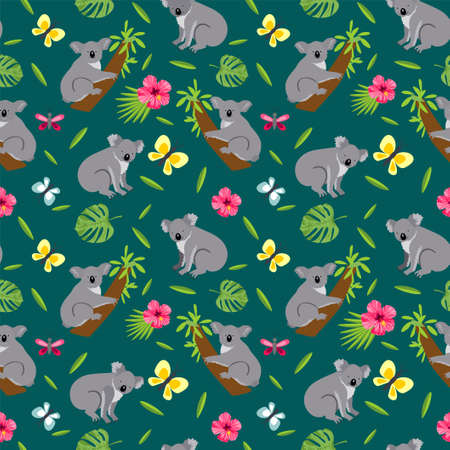 Seamless pattern with cute koala. Koalas seamless background. Australian animal seamless background. Wild koala bear and leaves, flowers vector seamless texture.