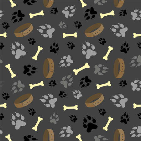 Dog paw seamless vector pattern. Dog footprint and bones texture. Pattern wallpaper background. Seamless pattern with dog paw footprint, dog collar and bones. Vector illustration. 矢量图像