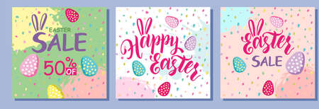 Happy Easter Set of Sale banners, greeting cards, posters, holiday covers. Typography, hand painted plants, dots, eggs, in pastel colors. Modern art minimalist style. Trendy design