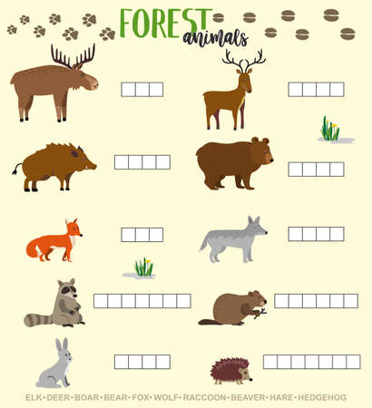 Crossword game for kids with cute forest animals. Preschool puzzle quiz game, learning english kids brain teaser with forest animals. Educational worksheet for children. School and preschool activity. 矢量图像