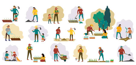 People gardening set. Woman planting gardens flowers, agriculture gardener hobby and garden job. Gardening person, Backyard landscaping, plants cultivating and nursery, garden maintenance. Vector 矢量图像