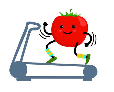 Cartoon tomato character running or jogging on treadmill isolated on transparent background. Cute sporty vegetable character making sport exercise. Fitness cardio concept.