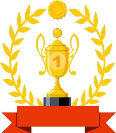 Trophy cup vector flat icon. First place winner. Win an award. Champion celebration with gold trophy, prize. Victory symbol with ribbon.