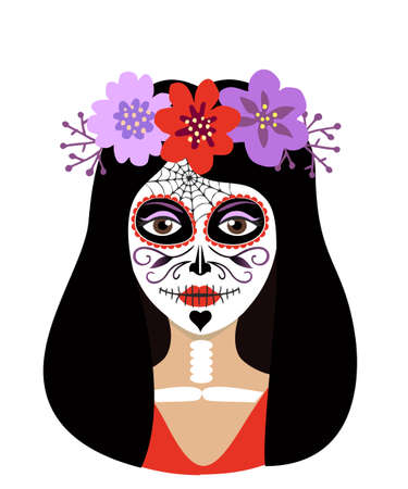 Day of the dead girl vector illustration. Young woman sugar head makeup for mexican party on dia de los muertos. Female character with Mexican Catrina makeup