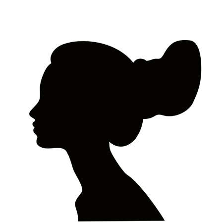 Woman profile with hair in a bun, black silhouette. Girl with a modern hairstyle. Large bun of hair. 矢量图像