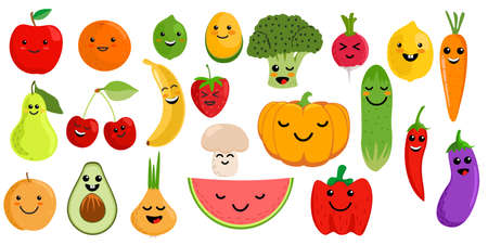 Cute fruits and vegetables. Kawaii vegetable fruit character cartoon set. Clipart for kids with kawaii face. Vector illustration.