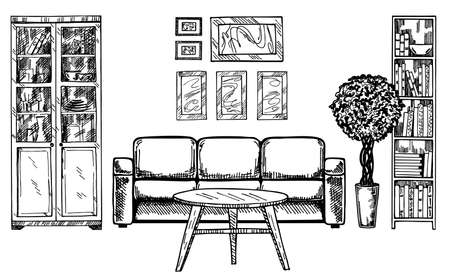 Linear sketch of an interior. Hand drawn vector illustration of a sketch style. Contemporary modern interior hand drawing.