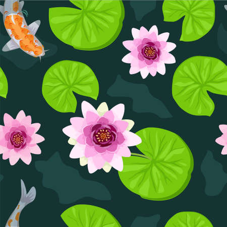 Koi fish seamless pattern. Botanical seamless pattern, lotus flowers and goldfish vintage style. Seamless background with Koi fish or Japanese carps and lotus.