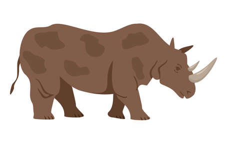 Gray rhinoceros in flat cartoon style. Silhouette of a standing rhinoceros. Side view. Happy friendly rhinos. Wild animal. Animal at the zoo. African animals. 矢量图像