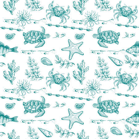 Sea life seamless vector pattern. Seamless background with hand drawn fishes, tortilla and corals on seaweed background. Marine textile collection. Tropical ocean. Dark blue background.