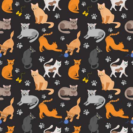 Seamless pattern with cute colorful Kittens. Creative black seamless background. Great for fabric, textile Vector Illustration