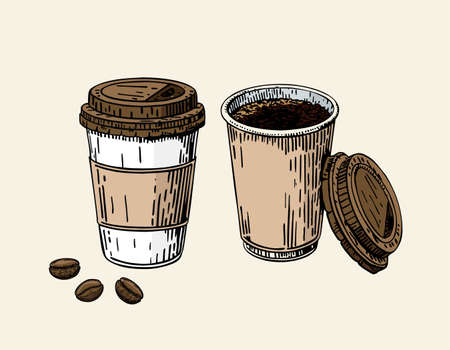 Take-out coffee cup and beans. Plastic cup of coffee. Coffee to go cup with a lid. Coffee take away sign for print, cafe, menu, restaurant, advertisement. Emblem for reopening. Vector sketch.