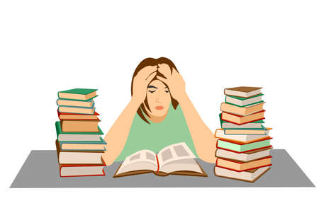 Tired student. Mental stress, education, preparation, frustration, learning concept. Tired depressed frustrated girl student has fear before exam or university tests. Stressful time in study process. 矢量图像