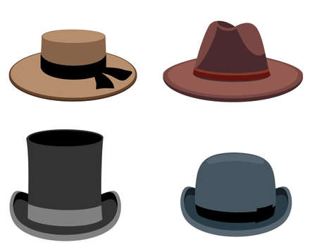 A set of men s hats. Vector collection of men s hats in flat style. olor illustration.