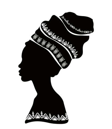 Vector portrait of a beautiful African woman in traditional turban, Kente head wraps.