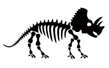 Triceratops dinosaur skeleton negative space silhouette illustration. Prehistoric creature bones isolated monochrome clipart. The dinosaur ate vegetation, Triceratops fossil design element