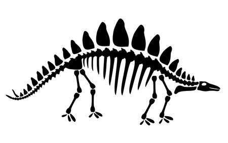 Centrosaurus dinosaur skeleton negative space silhouette illustration. Prehistoric creature bones isolated monochrome clipart. Late Jurassic herbivorous dinosaur, Centrosaurus fossil design element