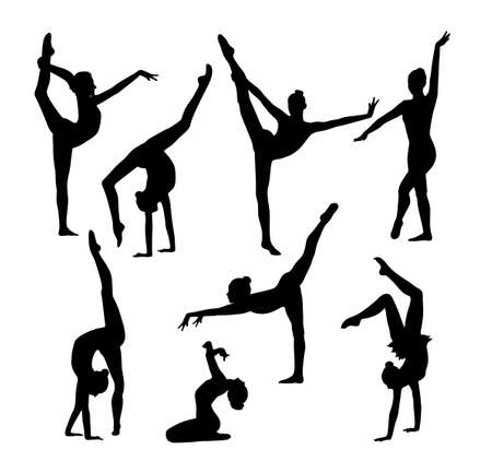 Eight black figures of gymnasts on a white background. Slim sportive woman doing yoga and fitness exercises. Healthy lifestyle. Modern silhouette illustration design. For t-shirt, icons, web, posters