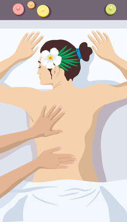 Masseur makes a woman a back massage. Masseur s hands makes massage to young girl at her back. Alignment of the ridge of the back by means of therapeutic massage. Chiropractor spine. Massage at spa