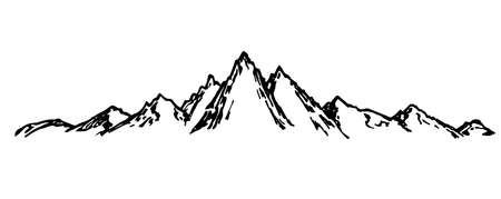 Hand-drawn simple sketch vector drawing. Mountain range. Horizontal mountain landscape, nature of mountainous countries. Wildlife of the north. Panoramic sketch in ink. Art graphics landscape