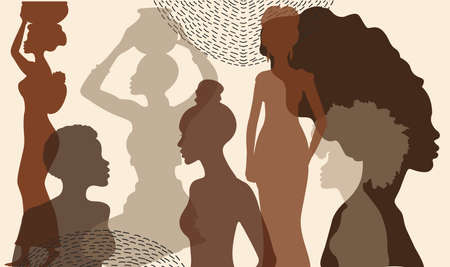 African ethnic women silhouette. Racial equality and anti-racism. The struggle for rights, independence, equality. Multicultural. Afro woman, Nigerian style, Ghanaian head wrap.