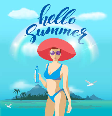 Beautiful young woman in a swimsuit and a big hat on the beach. Hello summer. Beach party banner, sea background with palm. Bikini girl on the sea beach. Vector illustration 矢量图像