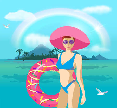 Pretty woman with a swimming circle on the background of the sea. Girl with swimming ring on tropical background. Inflatable circle. Summer holiday, vacation, travel 矢量图像