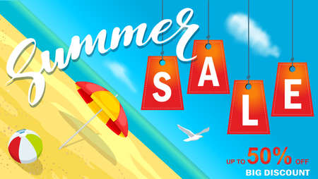 Summer super sale banner with sun umbrella and beach on background.