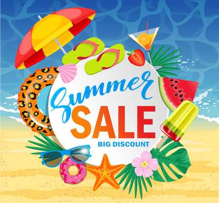 Summer sale vector banner design for promotion with colorful beach elements over white circle. Top view of sunglasses, slices of watermelon, cocktail, seashells on wooden texture. Vector illustration