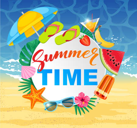 Summer time design with white circle for text and colorful beach elements. Bright greeting banner. Poster with tropical leaves, sun umbrella watermelon, popsicles, cocktail on sea background.