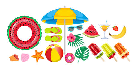 Summer beach, set of vector icons. Set hand drawn icons, signs and banners. Collection Summer hand drawn elements for summer holiday and party. Summer Typographic. Vector illustration.