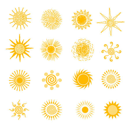 Sun icons vector symbol set. For summer, nature, sky, summer. Sun silhouette. Isolated vector illustration