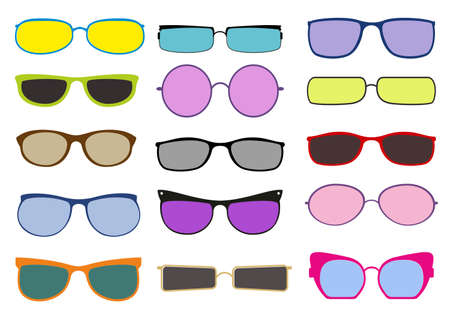 Set of colorful sunglasses icons. Fashionable accessories. Sunglasses in colorful rim set. Retro hipster trendy eyewear isolated on white. Vector for summer, vacation, holiday, fashion concept
