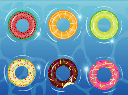 Rubber rings set on the background of water with donut, watermelon, orange, lime. Swimming ring colorful rubber toy realistic icons. Summer, water and beach theme, Lifebuoy flat vector set Ilustração