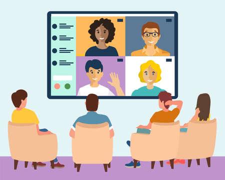 Online webinar in big city concept vector illustration. Men and Women sit in conference room and look at big screen. Internet conference, people chatting on big digital screen. Flat design vector Ilustração