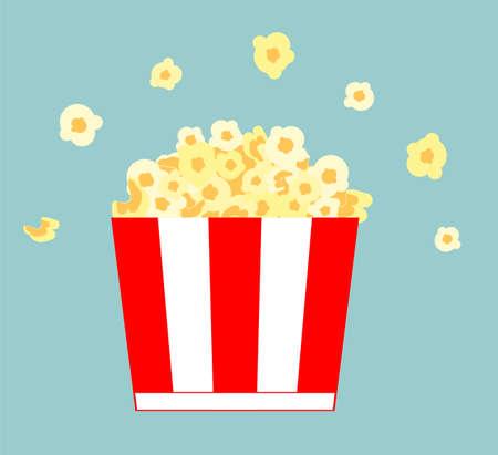 Popcorn bucket. Realistic illustration. Big portion popcorn. Cardboard or paper bucket. Cinema snack or movie food. Popcorn icon Ilustração