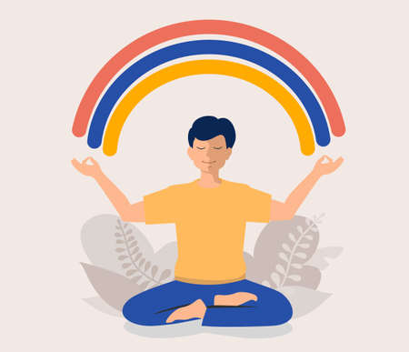 Happy man sits in lotus pose and meditating. He opened his hands to the rainbow. Guy creates good vibe around her. Smiling male character. Body positive and health care. Meditation concept