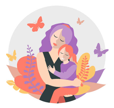 Cute mom with a young daughter. The concept of motherhood, family. Flat design with copy space. Happy woman hugs toddler. Concept of motherhood. Vector illustration on a white background